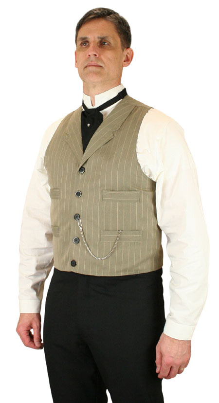 1800s Mens Tan Cotton Blend Stripe Notch Collar Dress Vest | 19th Century | Historical | Period Clothing | Theatrical || Jordan Vest - Tan Stripe