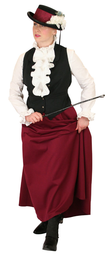 1800s Ladies Burgundy,Red Cotton Solid Dress Skirt | 19th Century | Historical | Period Clothing | Theatrical || Cotton Twill Walking Skirt - Burgundy