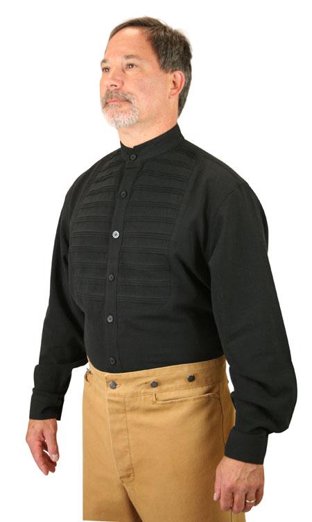 Vintage Mens Black Cotton Solid Band Collar Dress Shirt | Romantic | Old Fashioned | Traditional | Classic || Goddard Shirt - Black