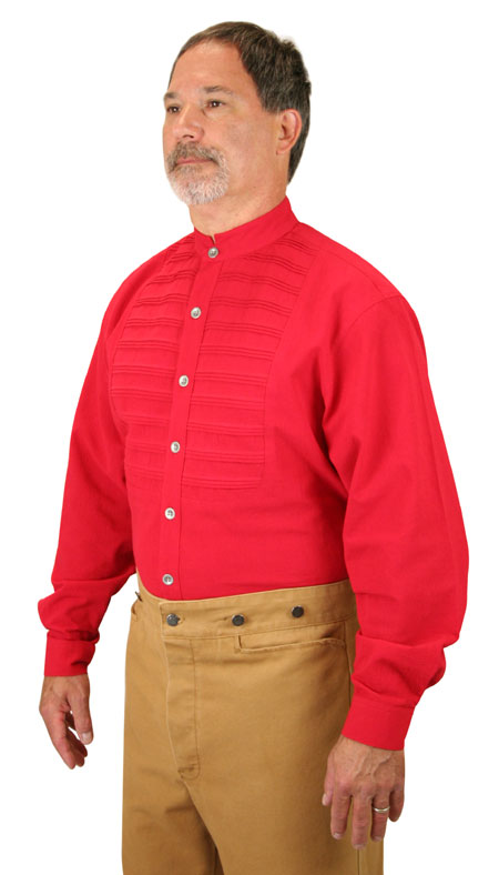 Vintage Mens Red Cotton Solid Band Collar Work Shirt | Romantic | Old Fashioned | Traditional | Classic || Goddard Shirt - Red