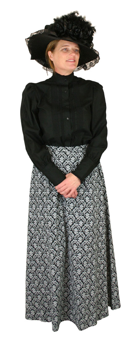 Victorian Ladies Black,White Cotton Floral Dress Skirt | Dickens | Downton Abbey | Edwardian || Rosedale Walking Skirt - Black and White