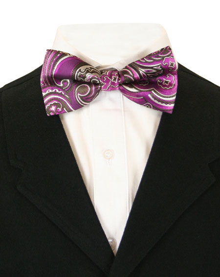Vintage Mens Multicolor,Purple Floral Bow Tie | Romantic | Old Fashioned | Traditional | Classic || Plucky Bow Tie - Purple