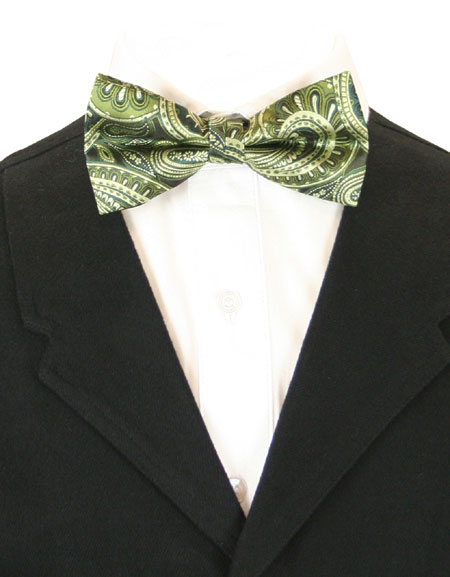 Victorian Mens Green Paisley Bow Tie | Dickens | Downton Abbey | Edwardian || Dynamic Bow Tie - Green Paisley
