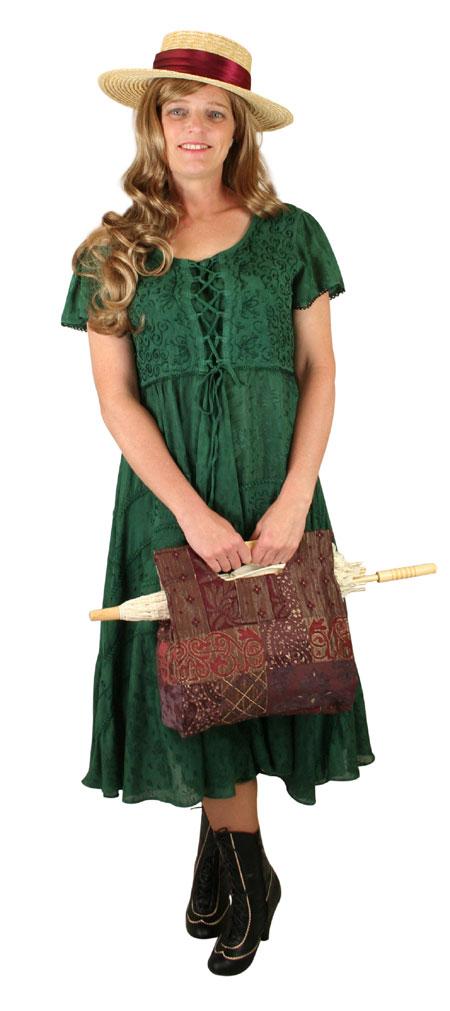 Steampunk Ladies Green Print Dress | Gothic | Pirate | LARP | Cosplay | Retro | Vampire || Persephone Cap Sleeve Dress - Green