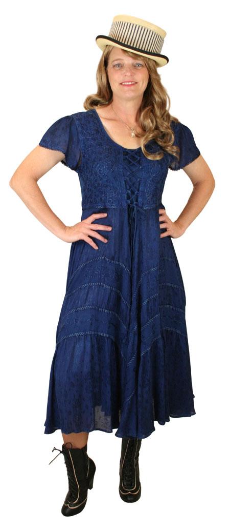 Steampunk Ladies Blue Print Dress | Gothic | Pirate | LARP | Cosplay | Retro | Vampire || Persephone Cap Sleeve Dress - Denim