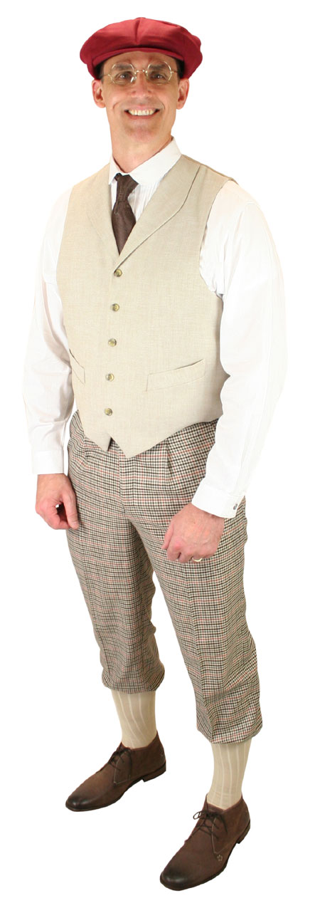 Victorian Mens Tan Plaid Knicker | Dickens | Downton Abbey | Edwardian || Pierce Knickers - Tan Plaid