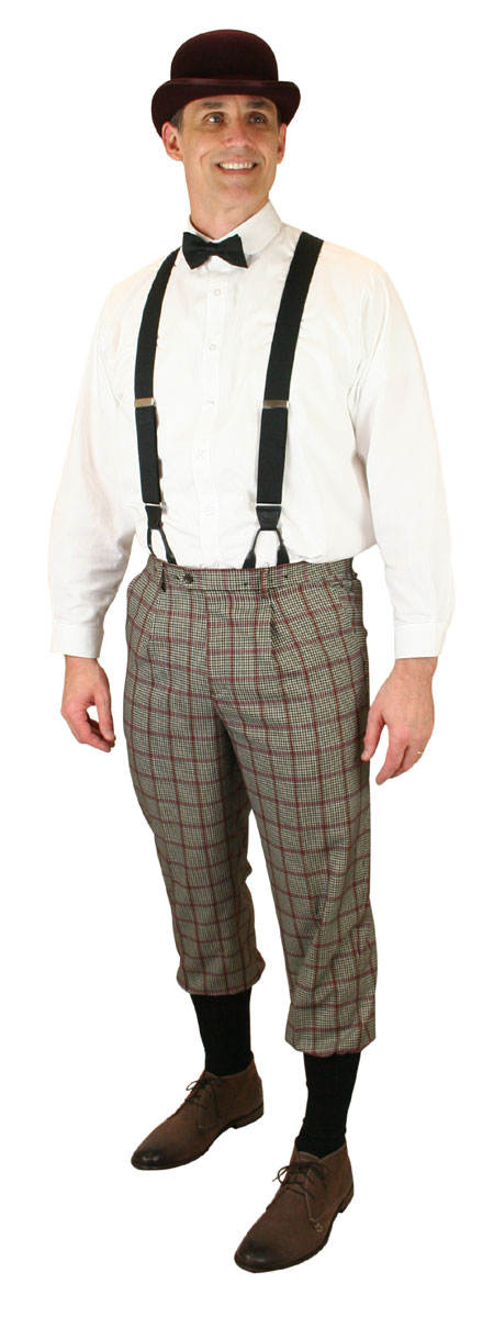Steampunk Mens Black,White,Gray,Burgundy Plaid Knicker | Gothic | Pirate | LARP | Cosplay | Retro | Vampire || Gallagher Knickers - Gray Plaid