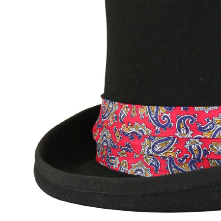 1800s Mens Red Hat Band | 19th Century | Historical | Period Clothing | Theatrical || Hat Band - Red Paisley