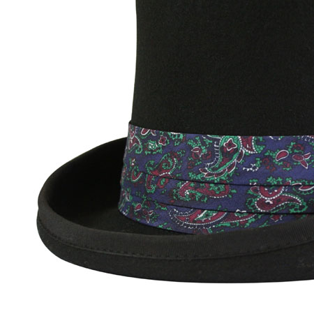 1800s Mens Blue Hat Band | 19th Century | Historical | Period Clothing | Theatrical || Hat Band - Navy Paisley