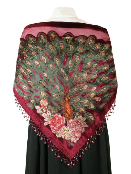 Beaded Peacock Shawl - Burgundy