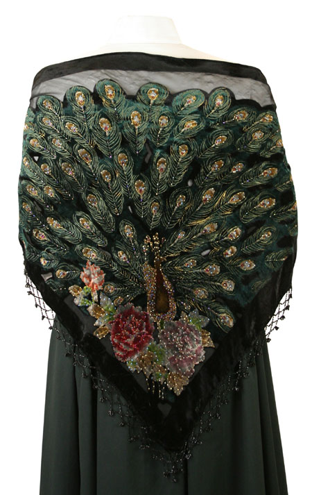 Beaded Peacock Shawl - Black
