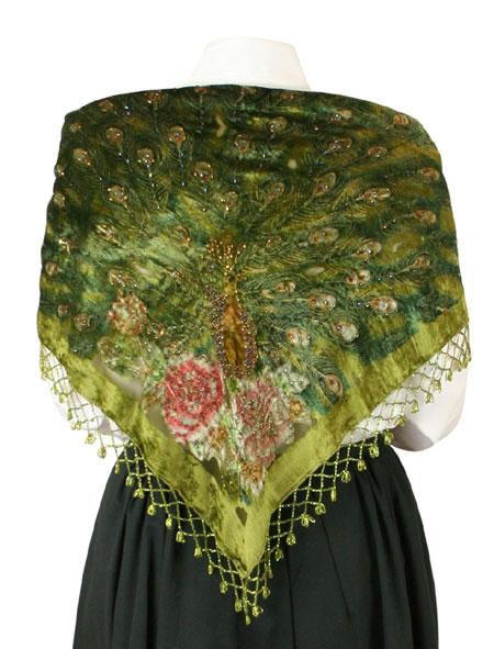 Beaded Peacock Shawl - Green