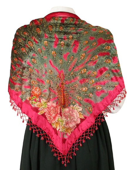 Beaded Peacock Shawl - Red