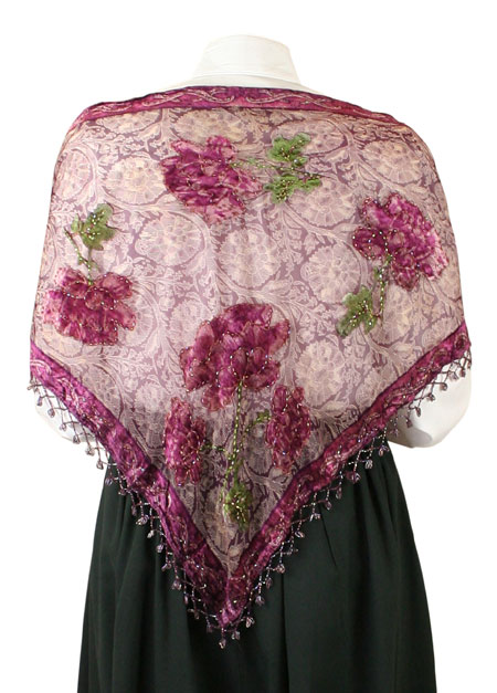 1800s Ladies Burgundy,Red Floral Shawl | 19th Century | Historical | Period Clothing | Theatrical || Beaded Rose Shawl - Wine