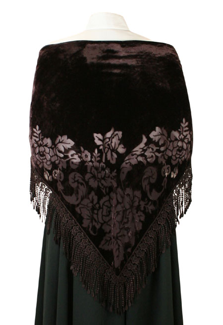 Burnout Velvet Shawl - Coffee