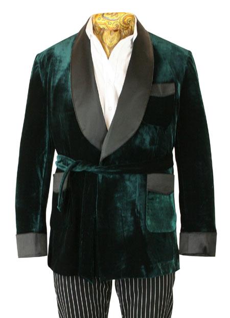 Alistair Smoking Robe - Forest Green Velvet