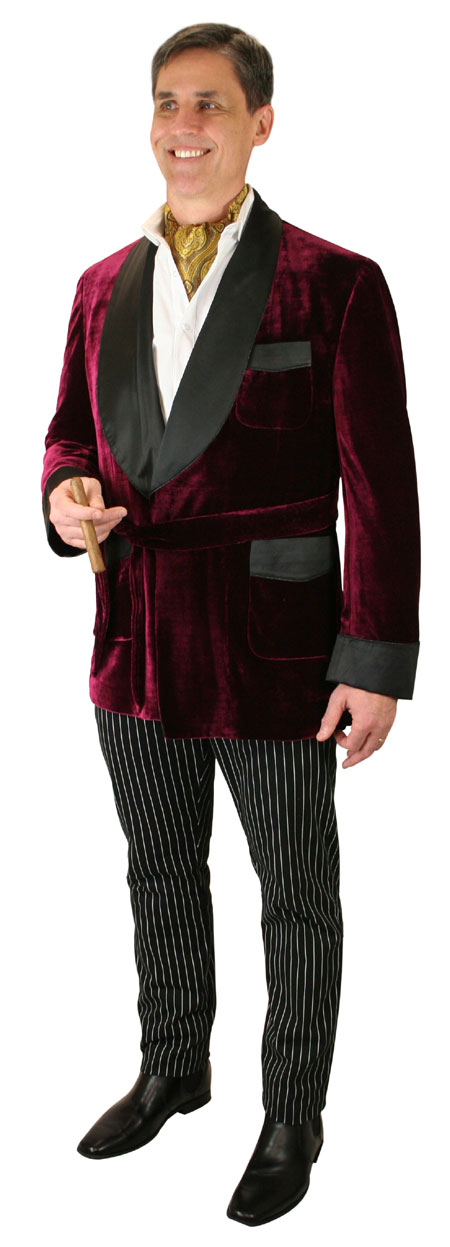 1800s Mens Burgundy,Red Solid Shawl Collar Smoking Jacket   19th Century   Historical   Period Clothing   Theatrical    Alistair Smoking Robe - Burgundy Velvet