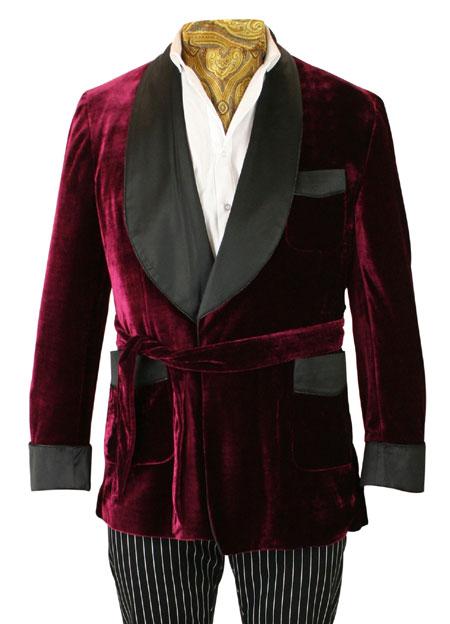 beau lustre prix modéré 60% de réduction Alistair Smoking Robe - Burgundy Velvet
