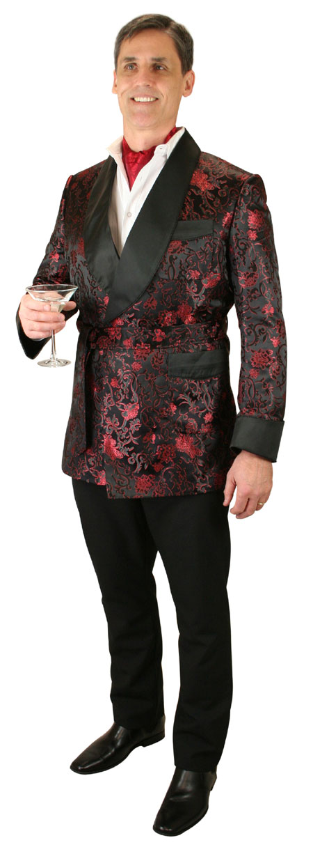 Vintage Mens Black Brocade Shawl Collar Smoking Jacket   Romantic   Old Fashioned   Traditional   Classic    Alistair Smoking Robe - Black Brocade