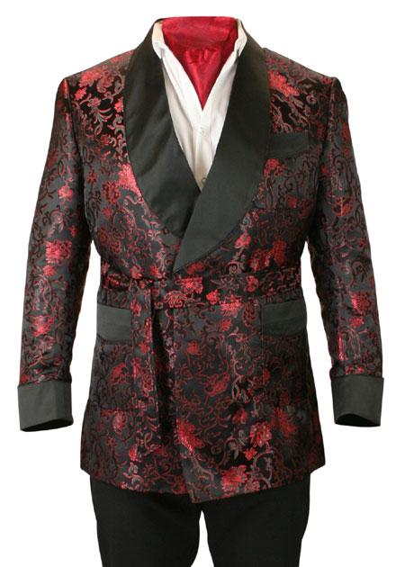 Alistair Smoking Robe - Black Brocade