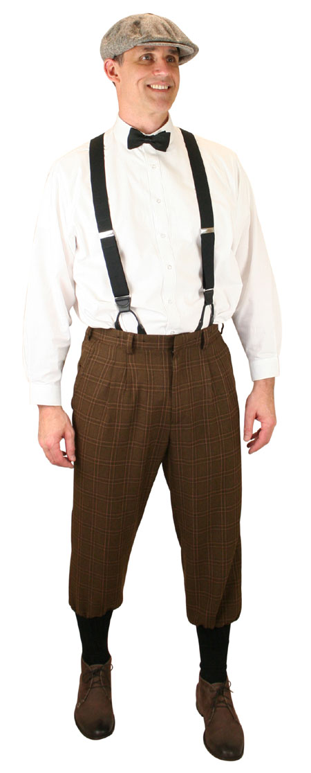 Steampunk Mens Brown Plaid Knicker | Gothic | Pirate | LARP | Cosplay | Retro | Vampire || Harvey Knickers - Brown Plaid