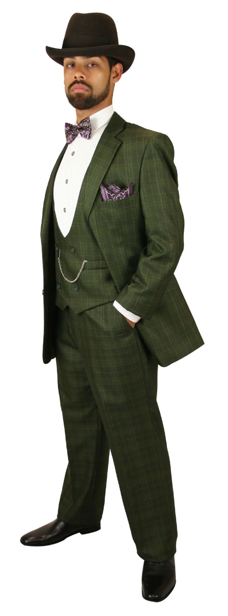 Vintage Mens Green Plaid Suit | Romantic | Old Fashioned | Traditional | Classic || Garrett Plaid Suit - Olive