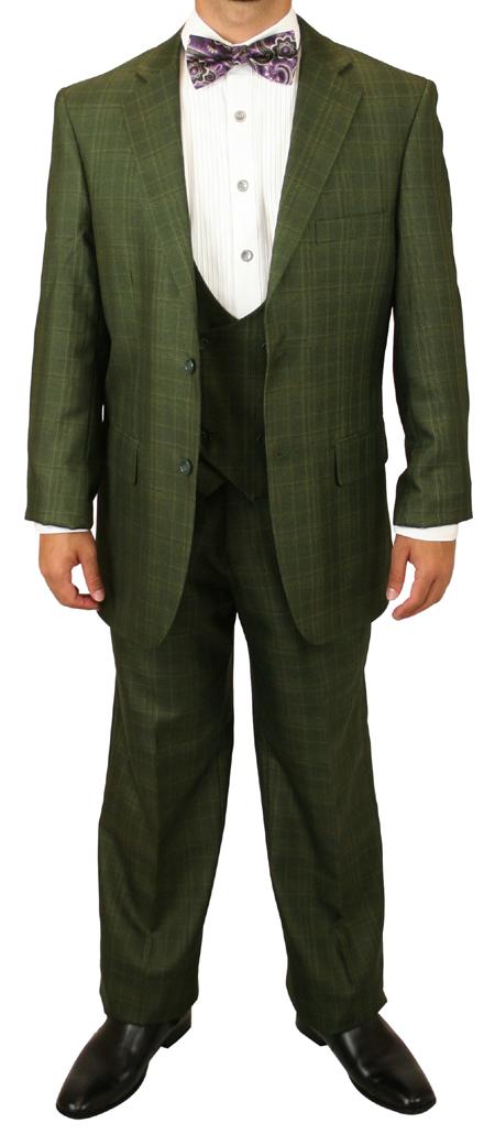 Garrett Plaid Suit - Olive