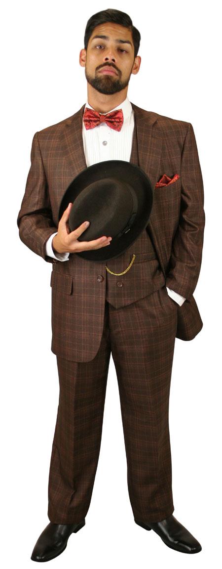 Wedding Mens Brown Plaid Suit | Formal | Bridal | Prom | Tuxedo || Garrett Plaid Suit - Chestnut