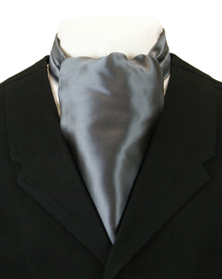 Wedding Mens Gray Solid Ascot | Formal | Bridal | Prom | Tuxedo || Lustrous Ascot - Charcoal