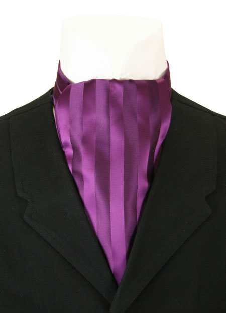 Victorian Mens Purple Stripe Ascot | Dickens | Downton Abbey | Edwardian || Ascot - Rich Purple Tonal Stripe