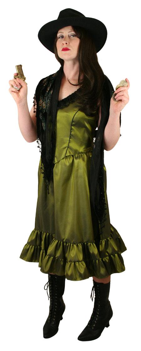 Steampunk Ladies Green Solid Dress | Gothic | Pirate | LARP | Cosplay | Retro | Vampire || Delilah Saloon Dress, Peridot Green