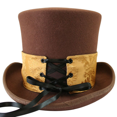 1800s Mens Gold,Brown Tweed,Satin,Wool Blend,Microfiber Spats | 19th Century | Historical | Period Clothing | Theatrical || Reversible Hat Spat (Short) - Sutter/Walden Tweed