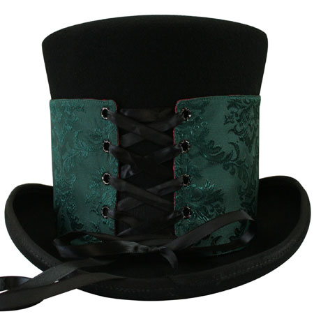 1800s Mens Burgundy,Green,Red Satin,Microfiber Spats | 19th Century | Historical | Period Clothing | Theatrical || Reversible Hat Spat (Tall) - Black Cherry/Emerald Isle