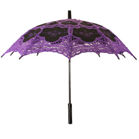 Victorian Ladies Purple,Black Cotton,Lace Lacy Parasol | Dickens | Downton Abbey | Edwardian || Lace Parasol - Purple/Black
