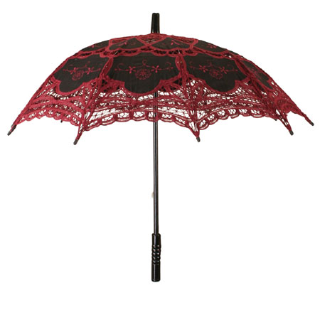 Victorian Ladies Burgundy,Black Cotton,Lace Lacy Parasol | Dickens | Downton Abbey | Edwardian || Lace Parasol - Wine/Black