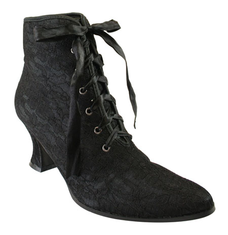 Steampunk Ladies Black Lace Boots | Gothic | Pirate | LARP | Cosplay | Retro | Vampire || Destiny Victorian Ankle Boot - Black Lace