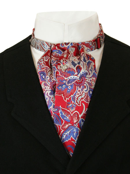 Vintage Mens Multicolor,Red,Blue Silk Floral Puff Tie   Romantic   Old Fashioned   Traditional   Classic    Silk Puff Tie - Red Floral