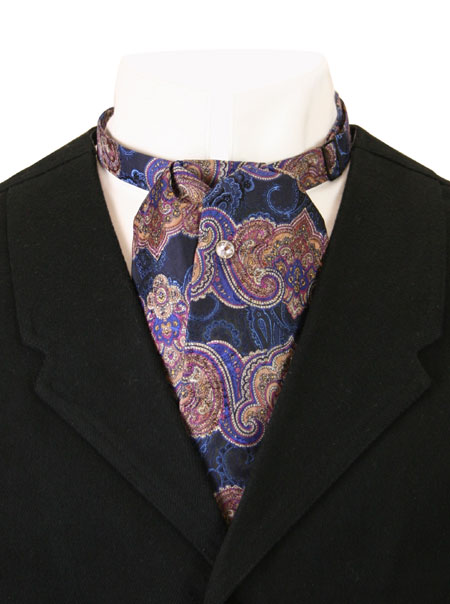 Vintage Mens Multicolor,Purple,Blue Silk Paisley Puff Tie | Romantic | Old Fashioned | Traditional | Classic || Silk Puff Tie - Purple Paisley