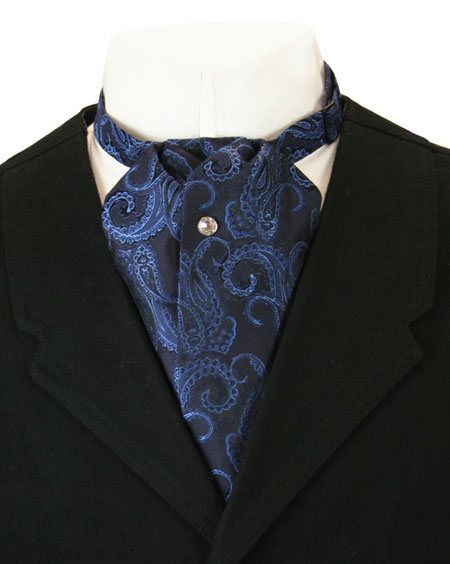 Wedding Mens Blue Silk Paisely Puff Tie | Formal | Bridal | Prom | Tuxedo || Silk Puff Tie - Blue Paisley
