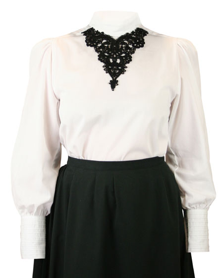 Eleanor Lace Blouse - White with Black Lace