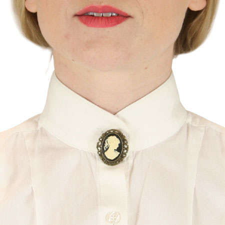Steampunk Ladies Gold Pin | Gothic | Pirate | LARP | Cosplay | Retro | Vampire || Cameo Pin - Ivory and Antique Gold