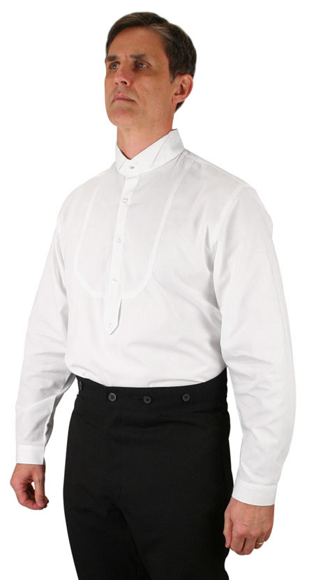 Wedding Mens White Cotton Solid Wing Tip Collar Dress Shirt | Formal | Bridal | Prom | Tuxedo || Victorian Mens Dress Shirt - Wing Tip