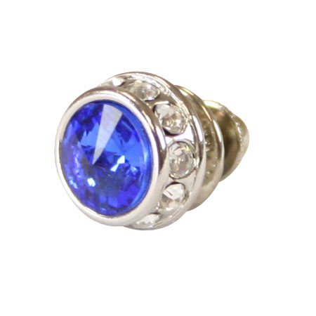 1800s Mens Blue Metal Tie Tack | 19th Century | Historical | Period Clothing | Theatrical || Silver Faceted Tie Tack - Royal Blue