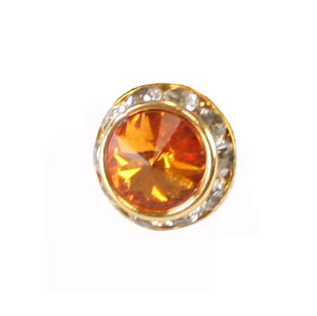 Gold Faceted Tie Tack - Light Topaz