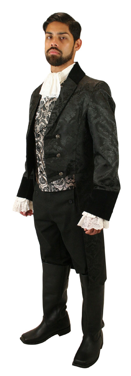 Wedding Mens Black Floral Notch Collar Tail Coat | Formal | Bridal | Prom | Tuxedo || Sovereign Regency Tailcoat - Black Brocade