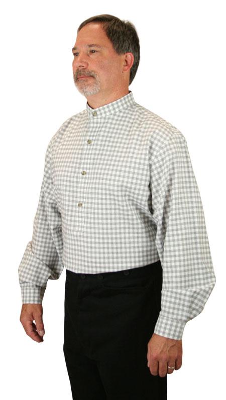 Wedding Mens Gray Cotton Plaid,Geometric Band Collar Work Shirt   Formal   Bridal   Prom   Tuxedo    Blanchard Shirt - Gray Check