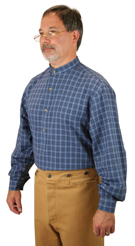 Victorian Mens Blue Cotton Plaid Band Collar Work Shirt | Dickens | Downton Abbey | Edwardian || Lawton Shirt - Cobalt Plaid