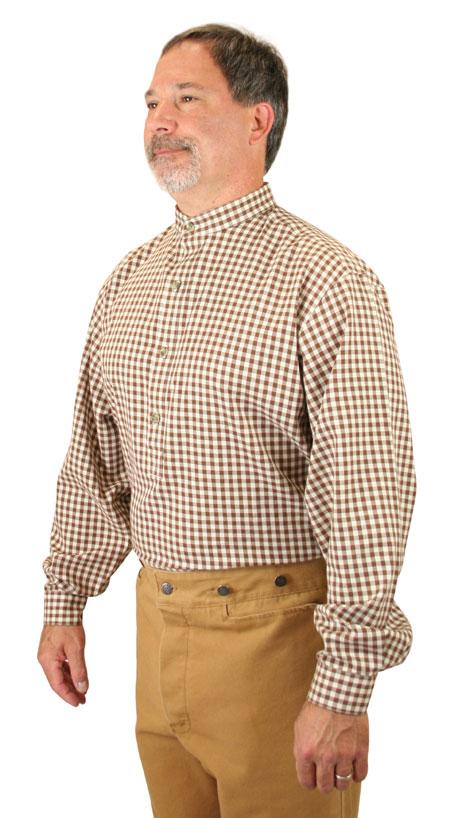 Victorian Mens Brown Cotton Plaid,Geometric Band Collar Work Shirt | Dickens | Downton Abbey | Edwardian || Blanchard Shirt - Brown Check