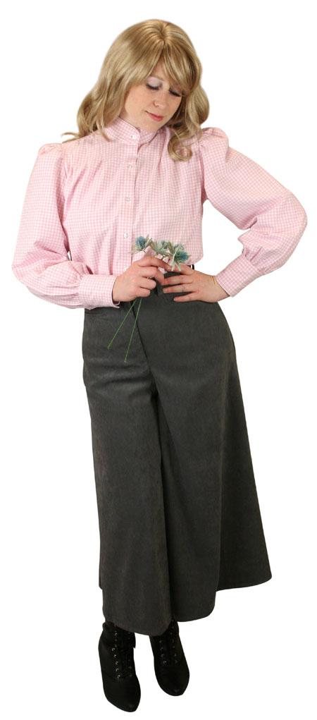 Steampunk Ladies Red Cotton Plaid Stand Collar Blouse   Gothic   Pirate   LARP   Cosplay   Retro   Vampire    Wichita Blouse - Pink Check