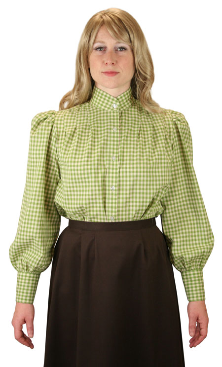 1800s Ladies Green Cotton Plaid Stand Collar Blouse | 19th Century | Historical | Period Clothing | Theatrical || Wichita Blouse - Green Check